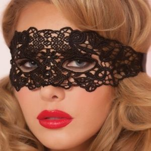 Other - Black Lace Eye Mask with Satin Laces